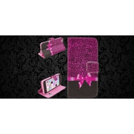 Housse iPhone 5C Girly leopard rose et noeud