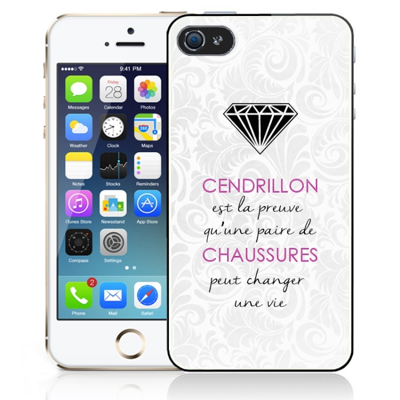 coque iphone 5 et 5s citation cendrillon iphony. Black Bedroom Furniture Sets. Home Design Ideas