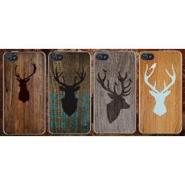Coque iPhone 4 et 4s Silhouette Cerfs style Bois