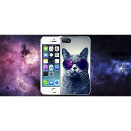 Coque iPhone 4 et 4S Chat Lunettes Galaxie