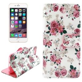 Etui porte-cartes cuir iPhone 6 motifs fleurs roses