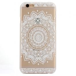 coque iphone 6 / 6S plastique transparente et blanche motif mandala fleur