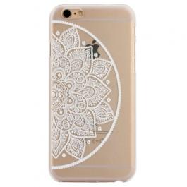 coque iphone 6 / 6S plastique transparente et blanche motif mandala fleur cercle excentré