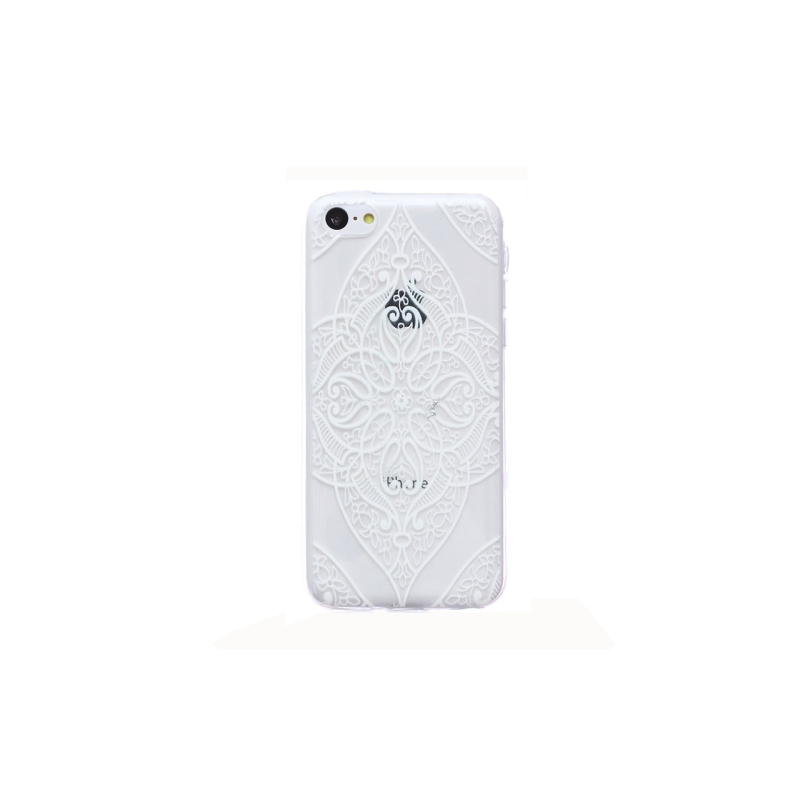 coque iphone 5c silicone fine a motif floral transparente blanche mobile store. Black Bedroom Furniture Sets. Home Design Ideas