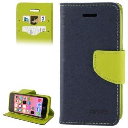 housse iPhone 5C rabat porte-cartes intégré - Vert / Bleu