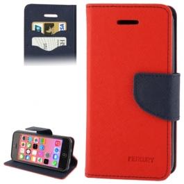 housse iPhone 5C rabat porte-cartes intégré - Rouge / Noir