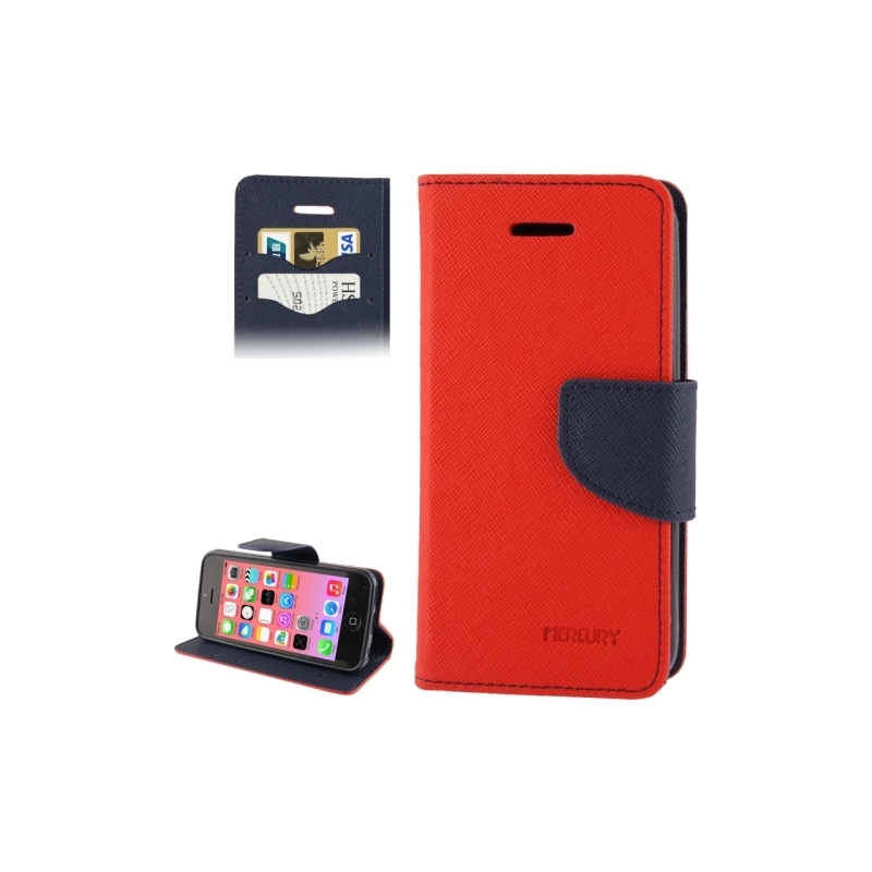 Housse iphone 5c rabat porte cartes int gr rouge noir for Housse iphone 5c