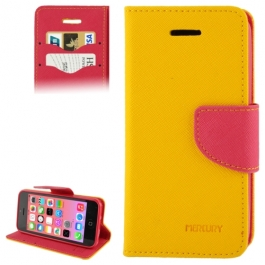 housse iPhone 5C rabat porte-cartes intégré - Rouge / Orange