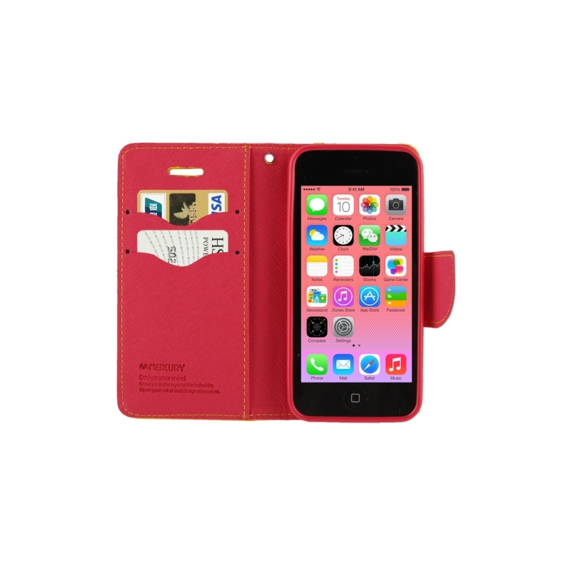 Housse iphone 5c rabat porte cartes int gr rouge for Housse iphone 5c
