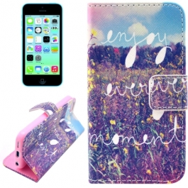 """housse iPhone 5C rabat porte-cartes intégré motif """"enjoy every moment"""""""