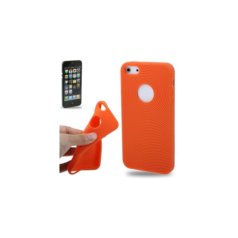 coque iphone 5 5s se silicone logo apple orange. Black Bedroom Furniture Sets. Home Design Ideas