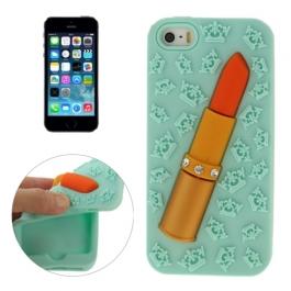 coque iPhone 5 / 5S / SE silicone 3D rouge à lèvre – vert