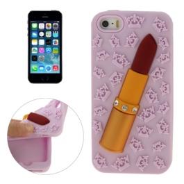 coque iPhone 5 / 5S / SE silicone 3D rouge à lèvre – violet