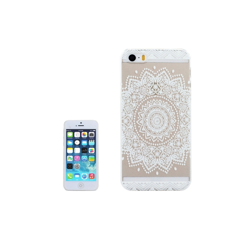 coque iphone 5 5s se transparente blanche motif mandala mobile store. Black Bedroom Furniture Sets. Home Design Ideas