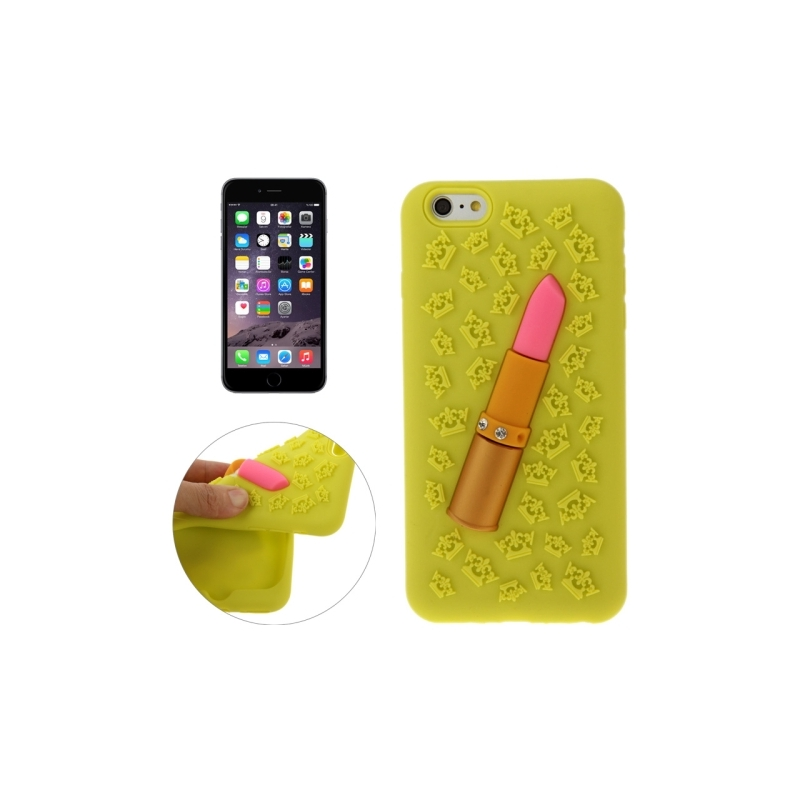 coque iphone 6 plus 6s plus silicone 3d rouge l vre jaune mobile store. Black Bedroom Furniture Sets. Home Design Ideas