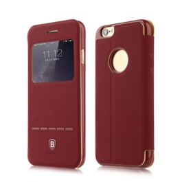 Coque iPhone 6 / 6S BASEUS à rabat tactile cuir - rouge