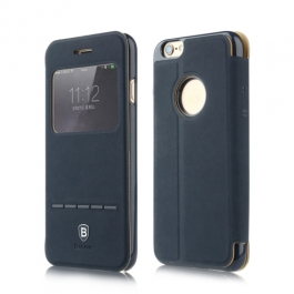 Coque iPhone 6 / 6S BASEUS à rabat tactile cuir - Bleu
