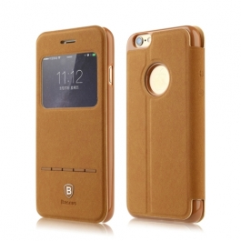 Coque iPhone 6 / 6S BASEUS à rabat tactile cuir - Marron