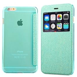 Coque iPhone 6 / 6S à rabat fenêtre porte-cartes - Turquoise