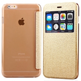 Coque iPhone 6 / 6S à rabat fenêtre porte-cartes - Or