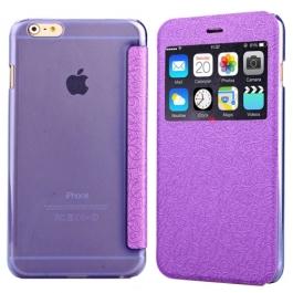 Coque iPhone 6 / 6S à rabat fenêtre porte-cartes - Violet