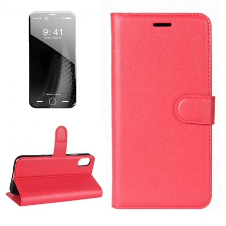 Housse porte cartes en cuir iphone x rouge mobile store for Housse iphone x