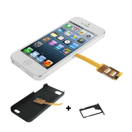 coque double carte nano sim iphone 5 mobile store. Black Bedroom Furniture Sets. Home Design Ideas