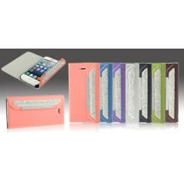 Étui iPhone 5 et 5S Strass en cuir