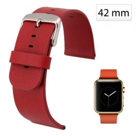 Bracelet Apple watch (42mm) en cuir véritable - Rouge