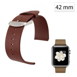 Bracelet Apple watch (42mm) en cuir véritable - Marron
