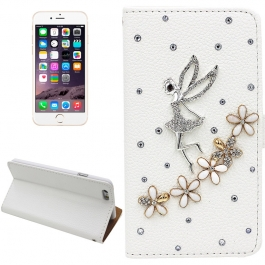 Housse cuir papillon strass iPhone 6 Plus