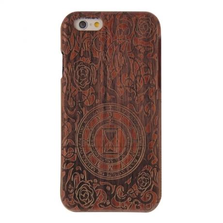 coque Iphone 6 / 6S uniquement bois motif sablier flamme et rose