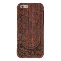 Coque Iphone 6 / 6S bois motif sablier flamme et rose