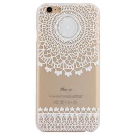 coque iphone 6 / 6S plastique transparente et blanche motif circulaire