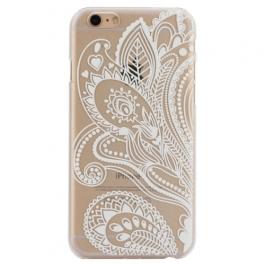 coque iphone 6 / 6S plastique transparente et blanche motif floral