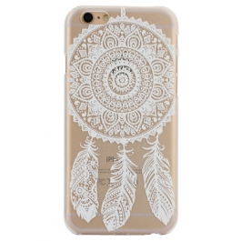 coque iphone 6 / 6S plastique transparente et blanche motif attrape-rêve