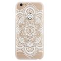 Coque iphone 6 / 6S plastique transparente et blanche motif fleur blanche