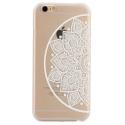 Coque iphone 6 / 6S plastique transparente et blanche motif mandala fleur cercle