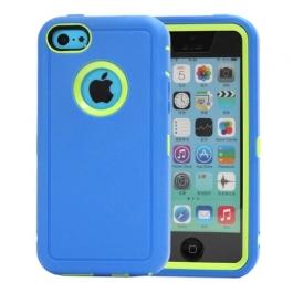 coque iPhone 5C bicolore anti-choc - bleu / vert