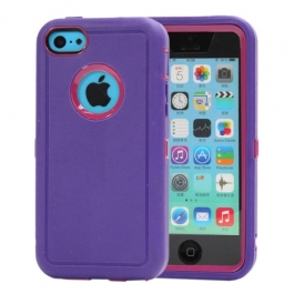 coque iPhone 5C bicolore anti-choc - violet / rose