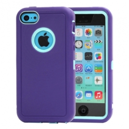 coque iPhone 5C bicolore anti-choc - violet / bleu