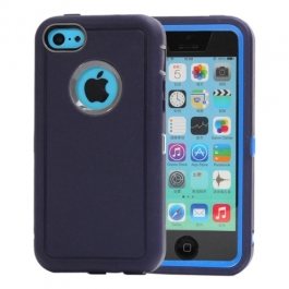 coque iPhone 5C bicolore anti-choc - bleu marine / gris