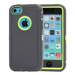 coque iPhone 5C bicolore anti-choc - gris foncé / vert