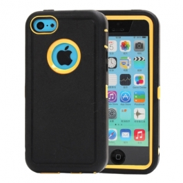 coque iPhone 5C bicolore anti-choc - noir / jaune