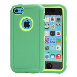 coque iPhone 5C bicolore anti-choc - vert / jaune