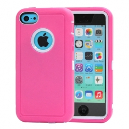 coque iPhone 5C bicolore anti-choc - rose / blanc