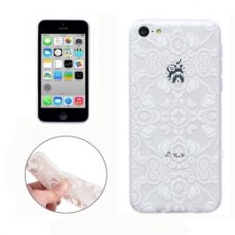 coque iPhone 5C Silicone fine a motif - transparente / blanche