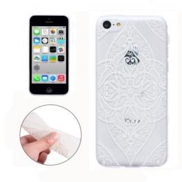 coque iPhone 5C Silicone fine a motif floral - transparente / blanche