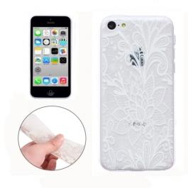 coque iPhone 5C Silicone fine fleur - transparente / blanche