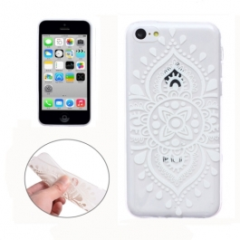 coque iPhone 5C Silicone mandala - transparente / blanche